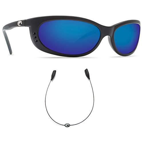 Costa Del Mar Fathom Black 580G Blue Mirror Glass With Free C-Line Black Retainer