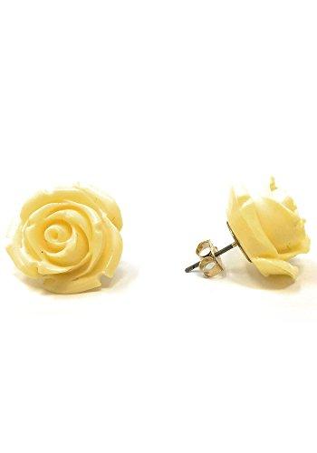Sidecca Retro Colored Rose Large 20mm Resin Stud Post Earrings (Light Yellow, 22) (Fashion Jewelry Yellow)