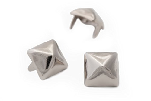 Pyramid Studs - Size 13 - Ideally used for Denim and Leather Work - Classic Two-Prong Studs - Available in Silver Color - Pack of 100 studs and spikes ()