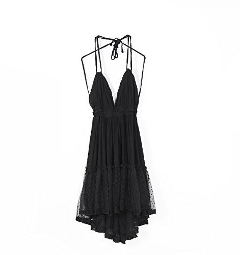 Deep Dresses VERGOODR Patchwork Neck Beach Black Sexy Boho Backless Summer Mini Women's Bohemian Short V qqIOS