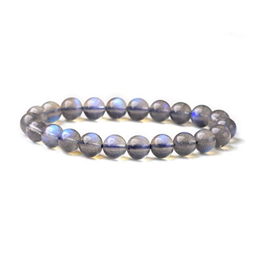 (WANZIJING Moonstone Bracelet, Gray Healing Gemstone Crystal Bracelet Round Semi Precious Beads Meditation Stretch Bracelet for Yoga,12mm)