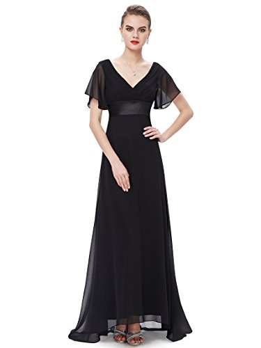 Ever-Pretty Long Short Sleeve Chiffon Dresses Gowns for Party 8US Black ()