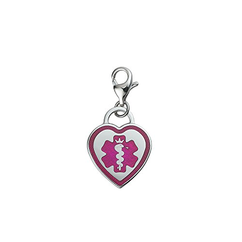 Divoti Custom Engraved Premier 316L Medical Alert ID Heart Charm w/ Lobster Clasp-TP Pink (Clasp Charm Lobster Heart)