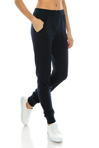 2020AVE Jogger Sweatpants For Women, Lightweight With Pockets - Athleisure, Running, and Casual Attire (Navy, Small)