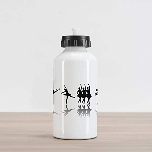 (Ambesonne Ballet Aluminum Water Bottle, Ballerinas on Stage Concert Dance Sugar Plum Fairy Theatrical Artistic, Aluminum Insulated Spill-Proof Travel Sports Water Bottle, Black Pale Grey White)