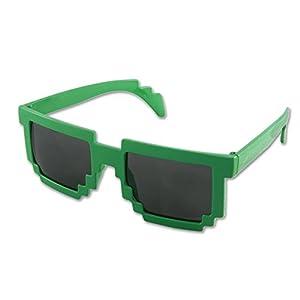 8-Bit Pixel Retro Computer Sun Glasses Nerd Sunglasses 8 Bit (Green)