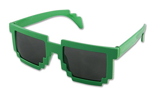 8 Bit Pixelated Costume (8-Bit Pixel Retro Computer Sun Glasses Nerd Sunglasses 8 Bit (Green))