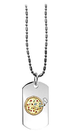 Hat Shark Pot Smoking Pals Munchies Pizza - 3D Color Printed Military Dog Tag, Luggage Tag Pendant Metal Chain Necklace