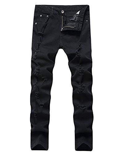 Distrutti Denim In Comodi Morbido Nero Slim Da Dritti Pantaloni Casual Uomo Jeans Abbigliamento Biker Adelina W7wF0qzx4n