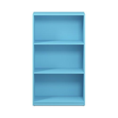 FURINNO 99736LBL Basic 3-Tier Bookcase Storage Shelves, Light Blue (Blue Shelf)