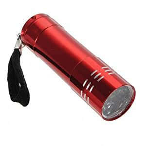 9 LED Pocket Aluminium Torch Flashlight Camping Light Lamp AAA --- Color:Red