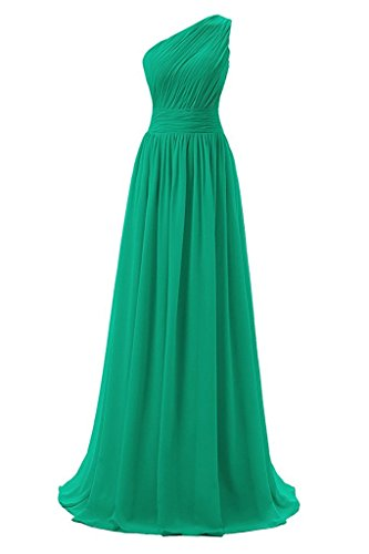 Shoulder Dressever Evening Long Women's Bridesmaid One Prom Dress Chiffon Green AZgtrZ