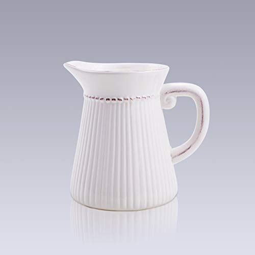 - D'vine Dev French Small White Pitcher Vase Ceramic Decorative Pitcher Flower Vase for Bouquet - 6 Inches Tall - Perfect for Home Décorative