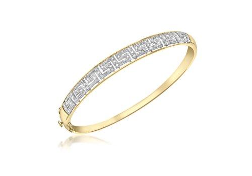 Jewellery World Bague en or jaune 9carats Diamant Bracelet clé grecque