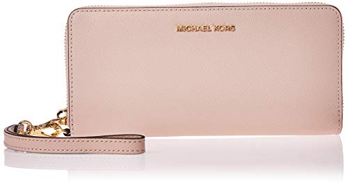 Michael Kors Jet Set Women's Leather Travel Continental Wristlet Wallet Pink O/S