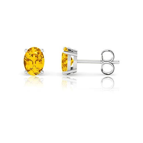 14K White Gold Oval Cut Genuine Citrine Stud Earrings (7x5mm)