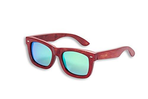 mawaii Uni modèle puia Moana Vert Polarized lenses fgv (Feel Good Vision) avec boîte et sacs microfibre lunettes de soleil bambou, rouge, L