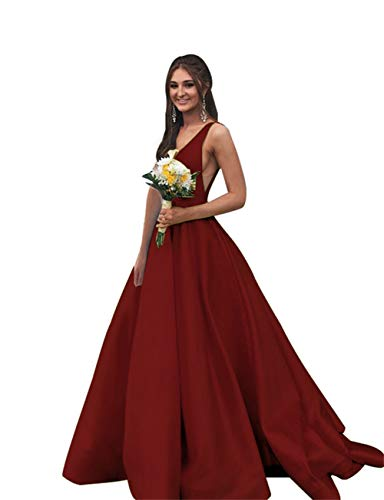 Rjer V-Neck Long Prom Dresses with Pockets Satin Evening Formal Ball Gowns for Women Burgundy ()