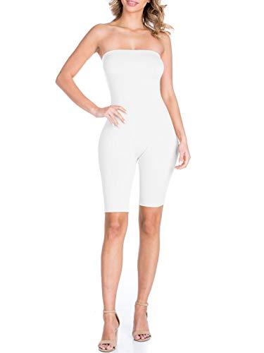 BEYONDFAB Women's Biker Short Pant Tube Jumpsuit One Piece Short Catsuit White S