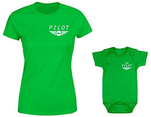 Pilot/Co-Pilot 2-Pack Bodysuit & Ladies T-Shirt (Kelly/Kelly, XX-Large/Newborn)
