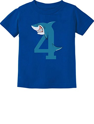 TeeStars - 4th Birthday Shark Party Gift for 4 Year Old Toddler Kids T-Shirt 5/6 Blue]()