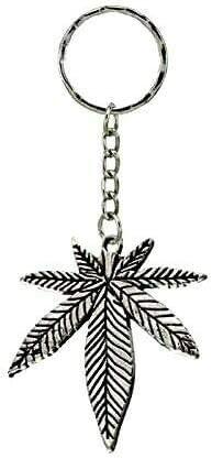 Silver Knight Llavero de marihuana con diseño de hoja de marihuana de marihuana y símbolo de la paz