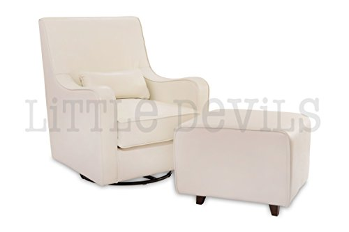 The NEW Hush Hush 360 Swivel Glider/Rocking Nursing Chair (White PU Leather) – The Modern Glider that combines simple lines with exceptional comfort