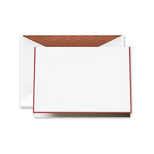 (Crane Red Bordered Note with Parlor Scallop Lining (CF1629))