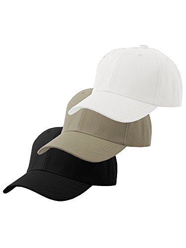 Velcro Adjustable Baseball Cap - Plain Adjustable Velcro Baseball Cap (One Size, Black Khaki White)