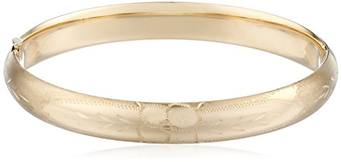 14k-Yellow-Gold-Diamond-Cut-Bangle-Bracelet-75mm