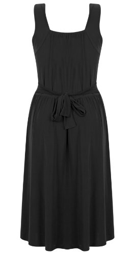 Womens Ladies Stretch Cross Over Wrap Buckle Tie Back Cocktail Dress Plus Size -BLACK -UK24/26 (100% Polyester)