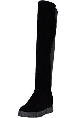 Sobre la rodilla botas Mujer Negro Casual Aumento Otoño Invierno Caliente Cuña Elasticas Botas altas largas De BIGTREE Negro