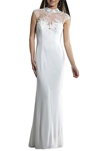 Sherrydress Women's Full Length High Neck Cap Sleeve Beaded Column Party Dress