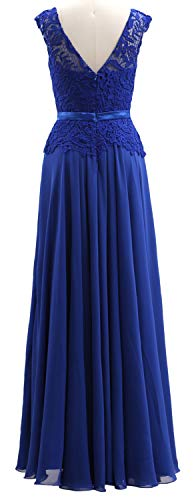 Women Evening Mother Purple Of Macloth Formal Bride Dress Neck Chiffon V Gown The Lace TnqCwY