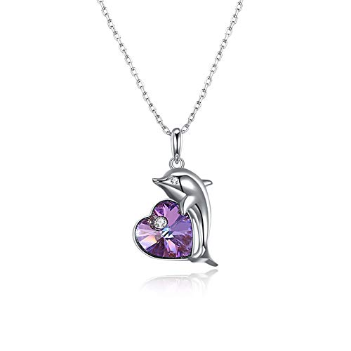 (Brqmy S925 Sterling Silver Purple Color Heart Crystal Stone Animal Dolphin Pendant Necklace Women Fashion Jewelry)