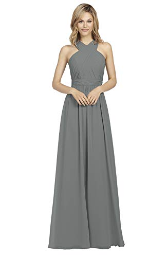 Halter Pleated Chiffon Gray Bridesmaid Dress Long A-line Evening Dress Formal Party Gown for Women Size 2