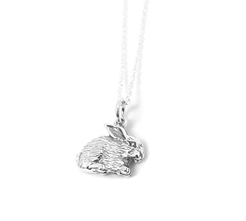 Fluffy Bunny Sterling Silver Charm Rabbit Necklace Woodland Nature Jewelry (16 Inches) (Silver Rabbit Sterling Charm Bunny)