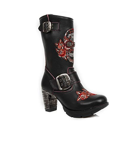 Buckle New Punk Leather Heavy Zip S3 Gothic Rock Ladies TR047 Women's Closure M Rock Red Black Boots Heel OCgUOq
