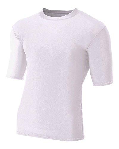 Undershirt White Baseball (White Adult Medium Half Sleeve High Performance Compression Moisture Wicking Shirt)