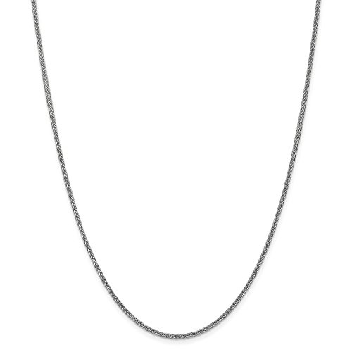 (14k Gold Hollow Wheat Chain Necklace with Lobster Clasp (1.9mm) - White-Gold, 20)