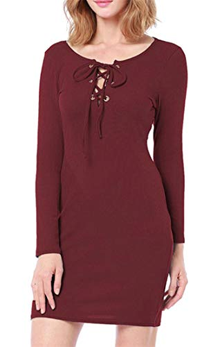 Wine Long Crew Red up Cromoncent Neck s Lace Women Bodycon Sleeve Solid Leisure Dresses EUwgqw7C