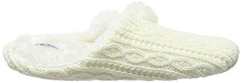 Eaze Cable Knit Fur Pom, Zapatillas de Estar por Casa para Mujer Beige - Beige (Cream)
