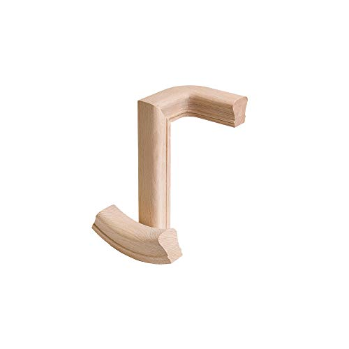 Red Oak 2 Rise Right Hand Gooseneck - 6210 Wood Staircase Handrail Fitting for Stair Remodel