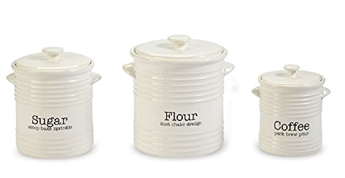 - Ribbed Canister 3 Piece Set, Coffee, Flour, Sugar.
