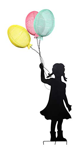 Alpine Corporation Solar Girl Silhouette Balloon Decor with LED Lights - Outdoor Yard Art Decor - Multi-Color - 29