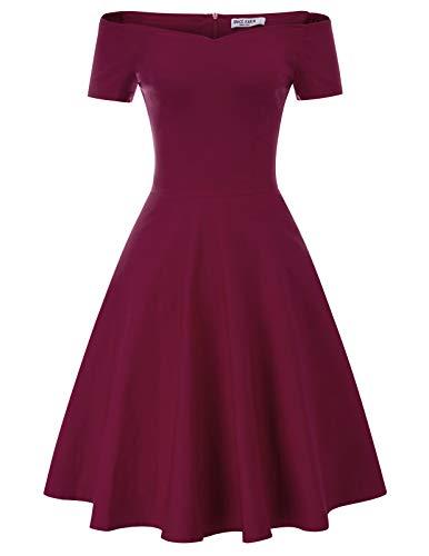 Red Karin Wine - GRACE KARIN Women's Off Shoulder Evening Wedding Dress Knee Length Size M Wine Red CL020-4