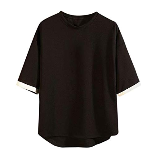 Big Sale! Fastbot Men's Splicing top Round Neck Solid Color Loose Casual Cotton Blend Wild T-Shirt Nero (Brocade Poly)