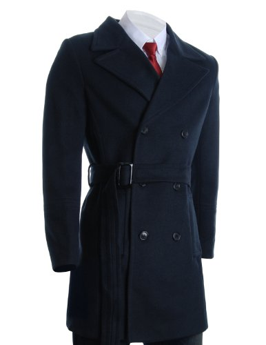 FLATSEVEN Mens Winter Double Breasted Pea Coat Long Jacket (CT122) Navy, US XX-Large/Asia (Us Navy Style Mens Peacoat)