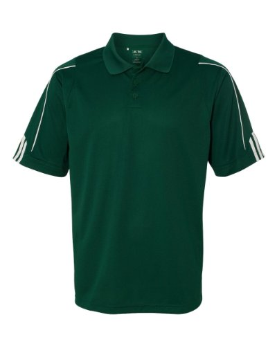 adidas Golf Mens Climalite 3-Stripes Cuff Polo (A76) -Forest/WHI - College Green Teams