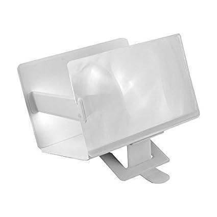eDealMax teléfono portátil de pantalla 3D Lupa ampliada Amplificador soporte Blanca